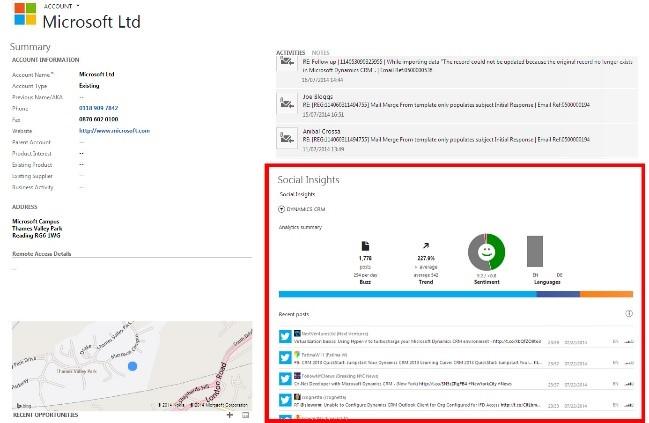 Screenshot of Microsoft Dynamics 365 Social Insights
