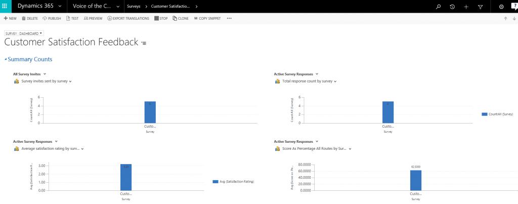 Microsoft Dynamics 365 Customer Satisfaction Feedback Screenshot