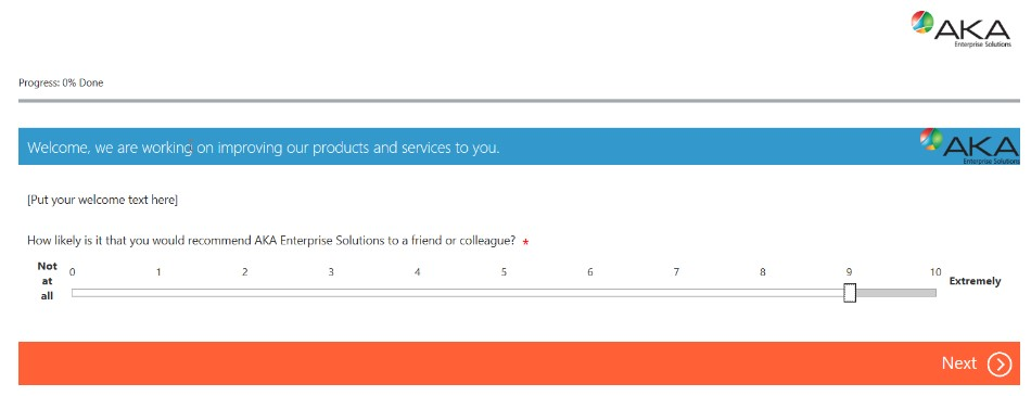 AKA Microsoft Dynamics 365 Survey Feature Screenshot