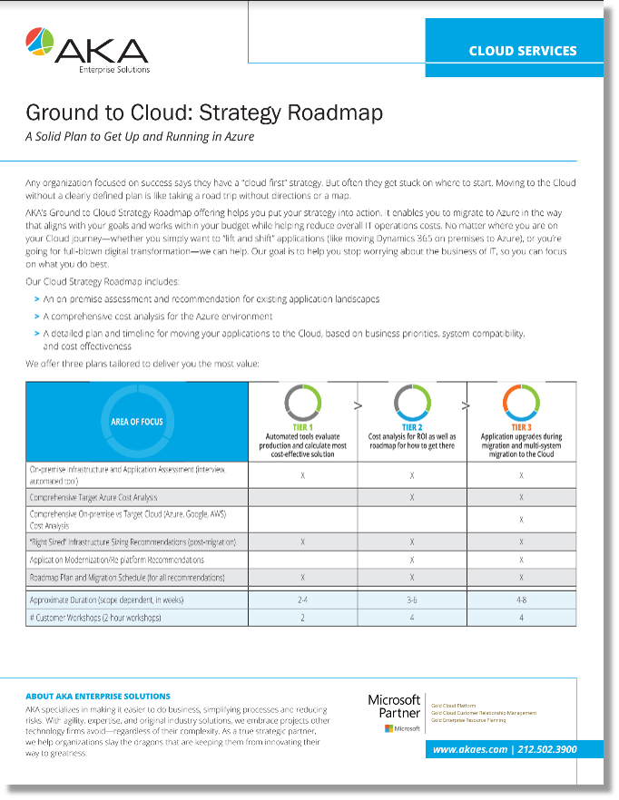service offering cloud strategy roadmap aka enterprise solutions