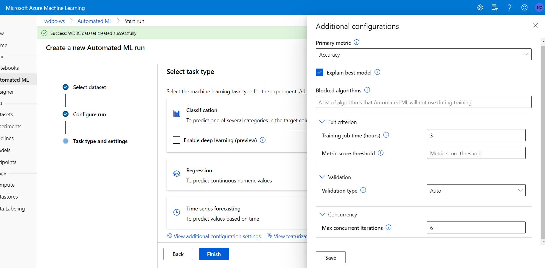 Azure Automated Machine Learning-Additional Configuration