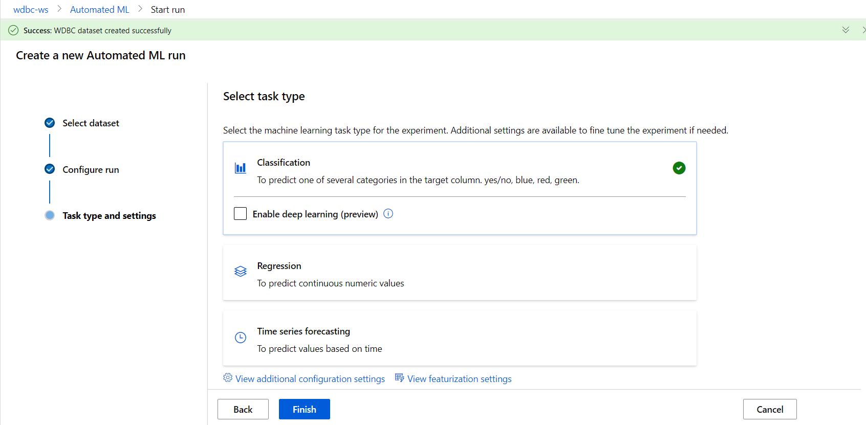 Azure Automated Machine Learning-Classification Option
