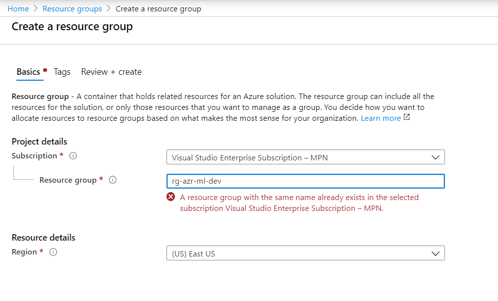 Azure Automated Machine Learning-Create Resource Group