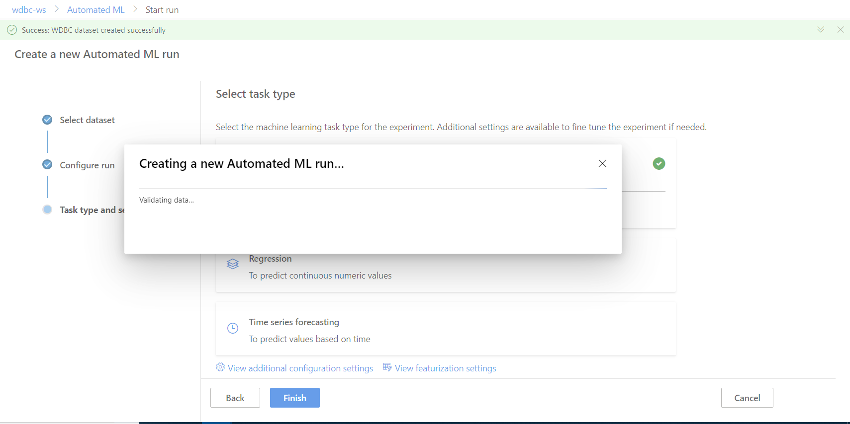 Azure Automated Machine Learning-Creating a New Automated MI Run