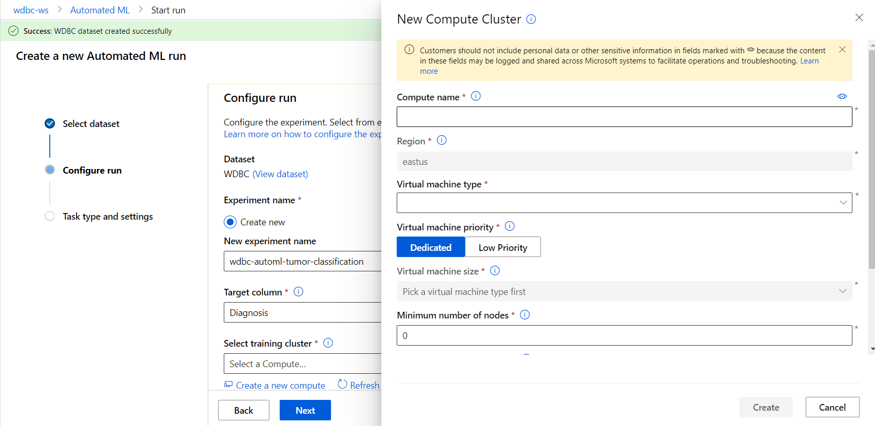 Azure Automated Machine Learning-New Compute Cluster