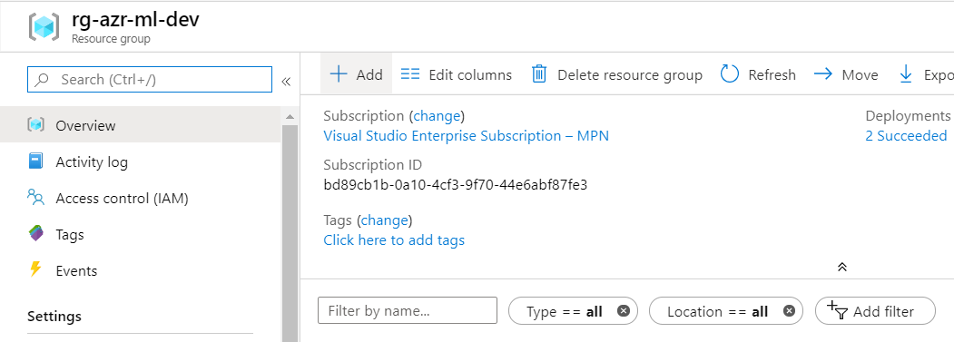 Azure Automated Machine Learning-Resource Group