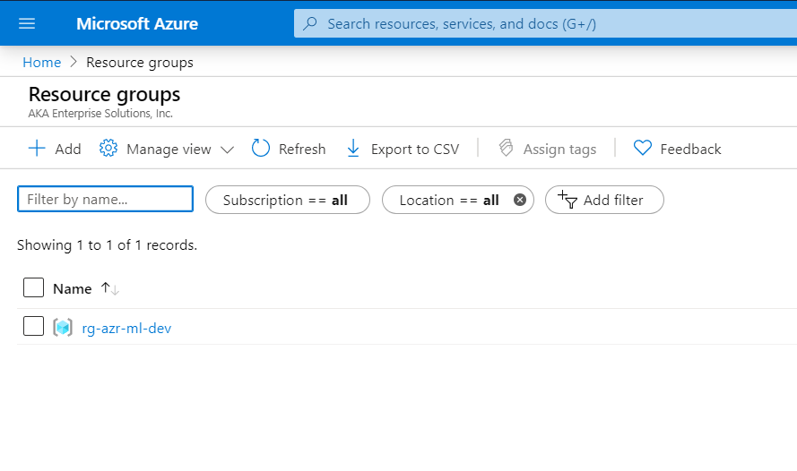 Azure Automated Machine Learning-Resource Groups