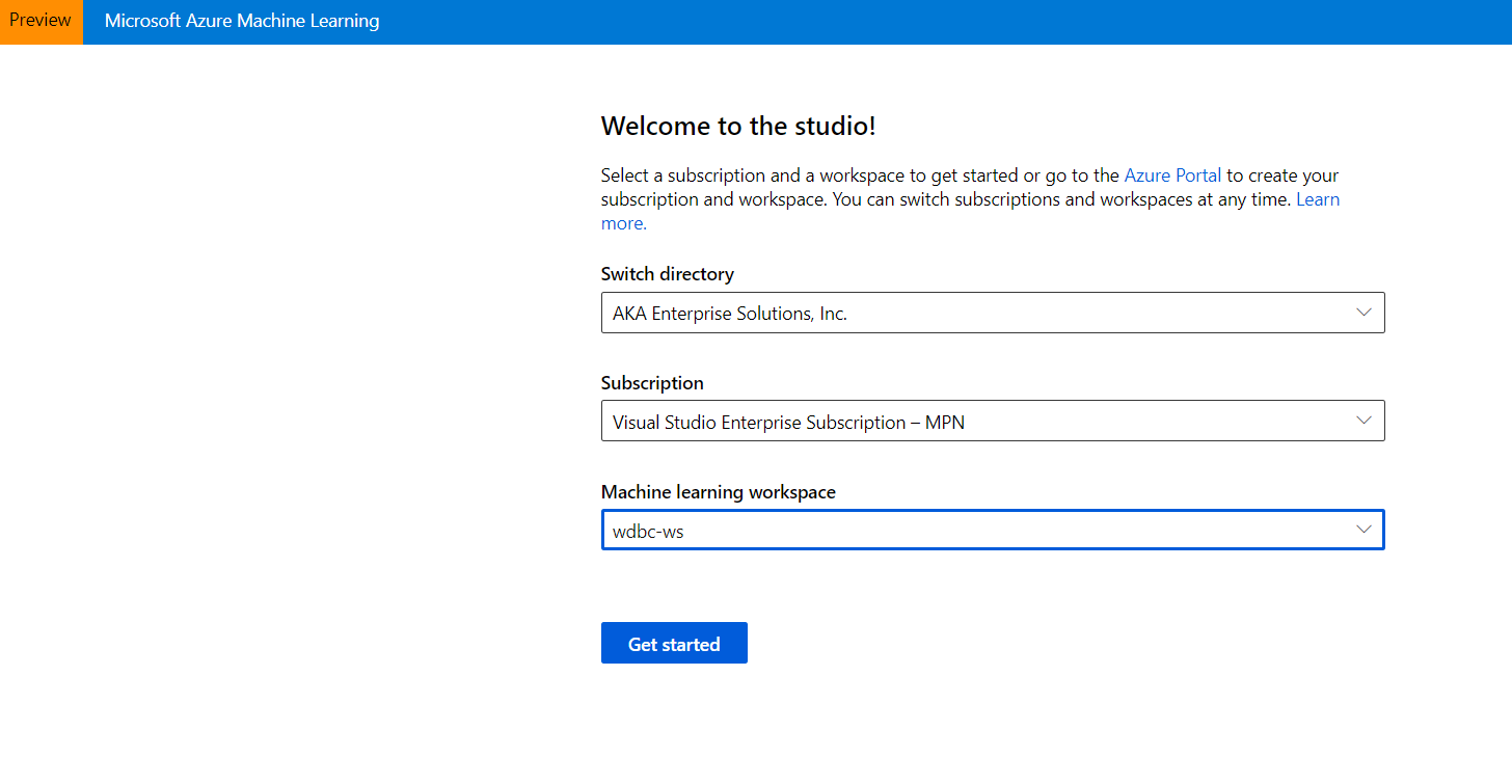 Azure Automated Machine Learning-Subscription and ML Workspace
