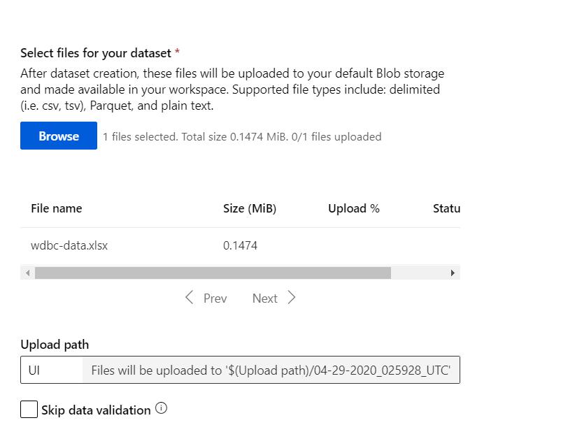 Azure Automated Machine Learning-Upload CSV File